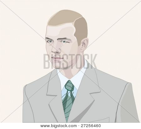 young man dressed in brand-new suit with tie. vector illustration