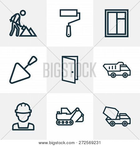 poster of Construction Icons Line Style Set With Glass Frame, Cement Vehicle, Engineer And Other Wall Painter