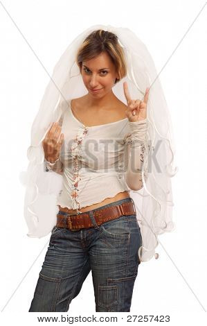 informal bride isolated on white background