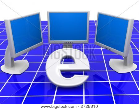 Symbol Of Internet With Local Network. 3D