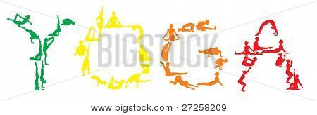 yoga vector color silhouettes of young attractive yogi girl