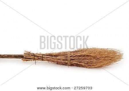 broom wooden brushwood isolated on white background