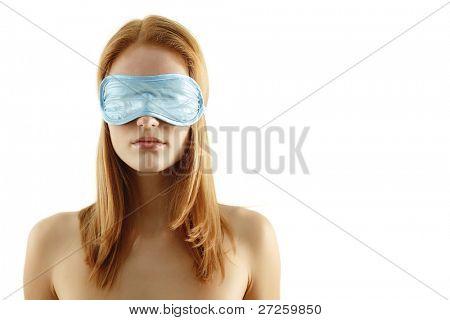 girl with bandage isolated on white background