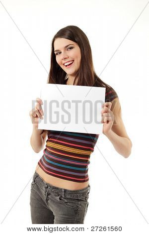 fröhlich holding blank White Papier Closeup isoliert auf weißem Hintergrund jugendlich Mädchen