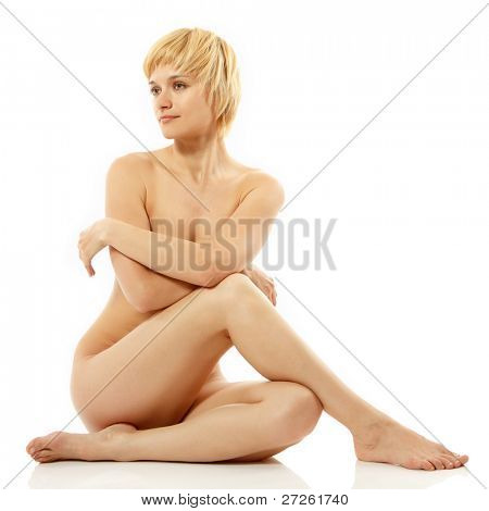 woman sexy nude beautiful young posing isolated on white background