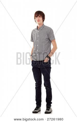 teen man young full-length isolated on white background