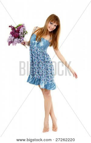 teen girl beautiful fresh with spring bunch flower lilac dancing barefoot isolated on white background