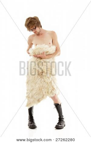 man young nude with fell and jackboot full-length isolated on white background