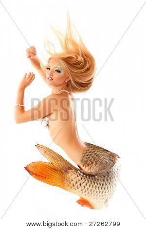 mermaid beautiful magic mythology being original photo compilation isolated on white background