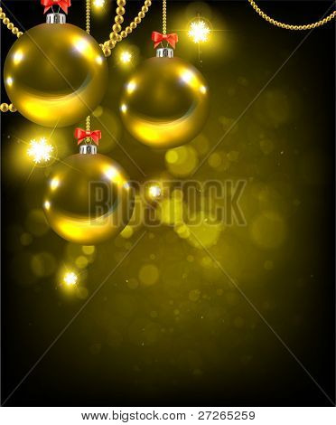 elegant christmas background with baubles (background behind the panel is complete)