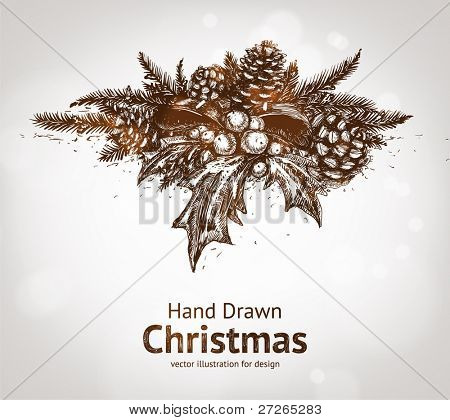 Christmas pine twigs with ribbon, holly berries and pine cone. Vector Illustration