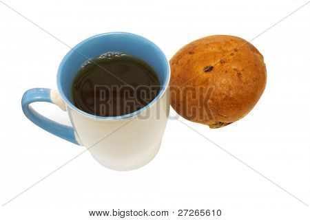 Cup of coffee with the bun under the white background