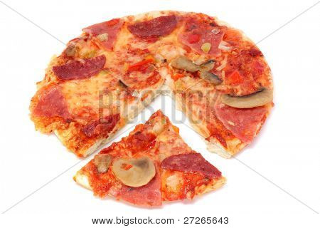 pizza with cut off piece under the light background
