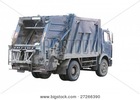 garbage truck under the white background. The truck moves, therefore wheels are blurred