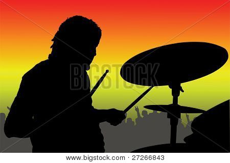 illustration of percussionist black silhouette under the color background