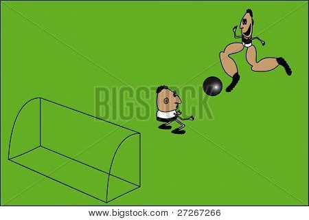 caricature of soccer is in a one-on-one with the keeper