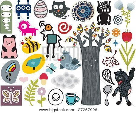 Mix of different vector images and icons. vol.12