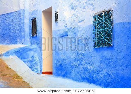 Architectural detail in Chefchaouen Old Medina, Morocco, Africa