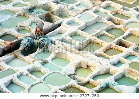 Architectural detail of  Fes Tanneries, Morocco, Africa