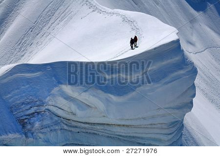 Alpinists on Rochefort Ridge, France