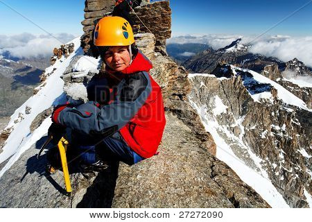 Alpinist on Gran Paradiso Peak, Italy