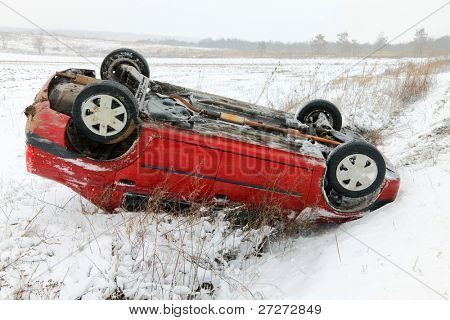 Car accident in winter conditions