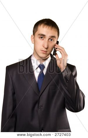 Business Man Talking On A Mobile Telephone