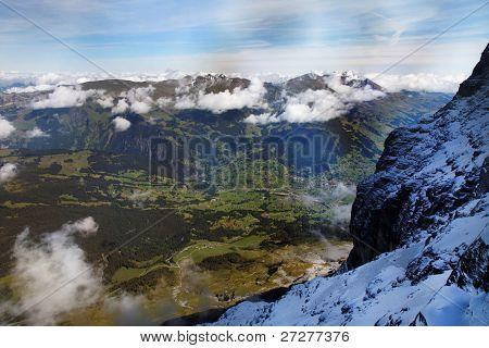 Grindelwald Village seen from Eiger Nordwand, Switzerland