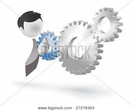 3d man pushing a cogwheel