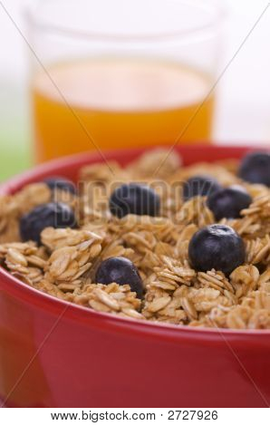 Breakfast Granola, Blueberries And Juice
