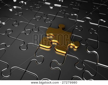 Gold And Silver Jigsaw Puzzle Pieces