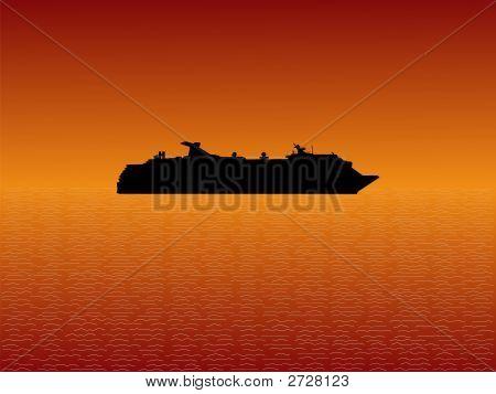 Kreuzfahrtschiff bei Sonnenuntergang