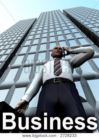 Business Man Standing In Front Of A Building