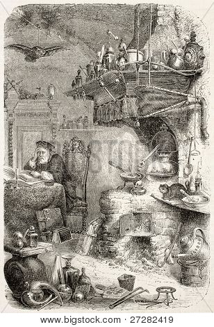 Alchemist laboratory old illustration. By unidentified author, published on L'Illustration, Journal Universel, Paris, 1858