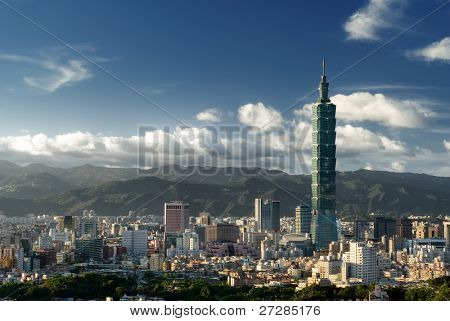 It is a beautiful cityscape in Taipei of Taiwan.