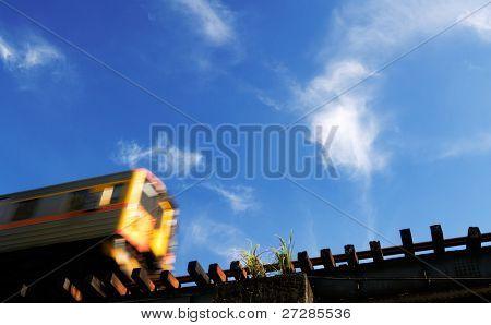 It is a motion blur train in the blue sky.