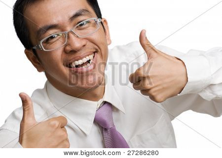 Happy businessman of Asian thumb up on white background.