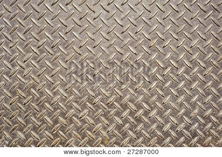 Background of old metal diamond plate in brown color.