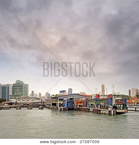 Thriving port and maritime transport in modern city in Penang, Malaysia, Asia.