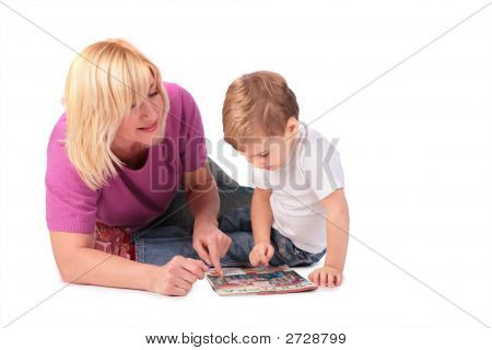 Middleaged Woman In Pink Shirt With Kid My Photo On Magazine