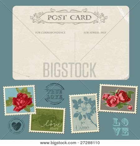 Vintage Postcard with Flower Stamps - for invitation, congratulation in vector