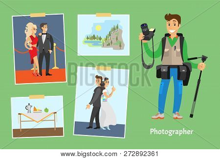 Photographer With Professional Camera And