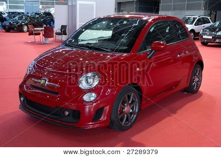 VALENCIA, SPAIN - DECEMBER 5: A 2011 Fiat Abarth 500 on display at the 2011 Valencia Car Show on December 5, 2011 in Valencia, Spain.
