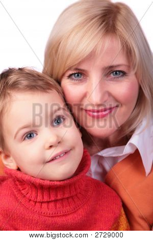Middleaged Woman With Kid Face Close-Up