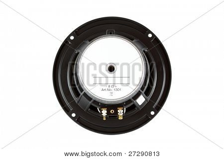 Back side view of High-End low mid-range driver loudspeaker isolated on white background