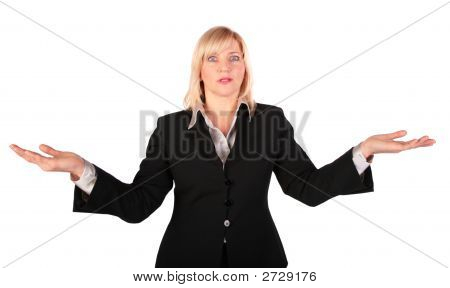 Middleaged Woman Spreads Hands