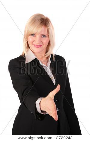Middleaged Woman Gives Hand