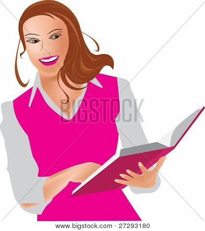 Girl with book, woman and book