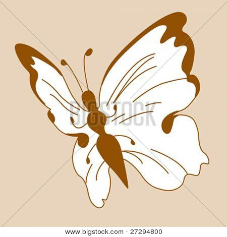 butterfly silhouette on yellow background, vector illustration