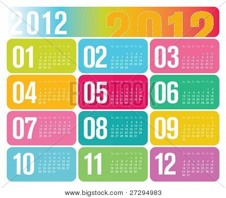 Modern Contemporary 2012 Yearly Wall Calendar Design